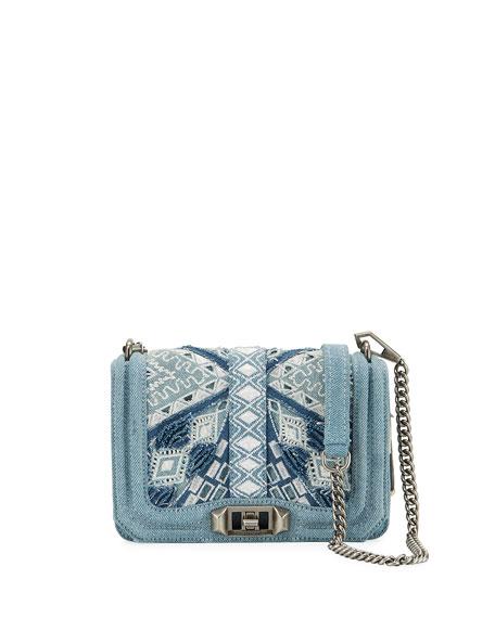 Rebecca Minkoff Love Small Embroidered Denim Crossbody Bag