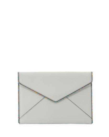 Leo Saffiano Leather Envelope Clutch Bag