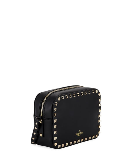 Small Rectangle Rockstud Camera Bag, Black