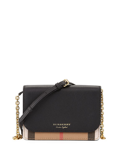 Hampshire Check/Leather Wallet On A Chain, Black