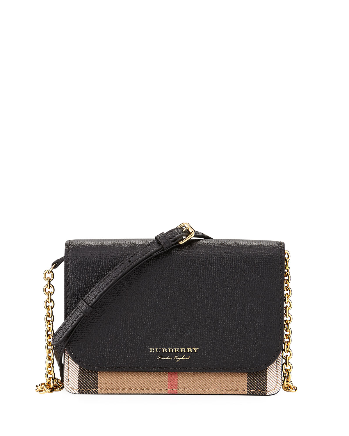 64b500a5e1 Burberry Hampshire Check/Leather Wallet On A Chain, Black | Neiman ...