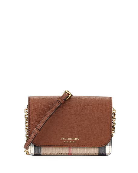 Burberry Hampshire Check/Leather Wallet On A Chain, Tan