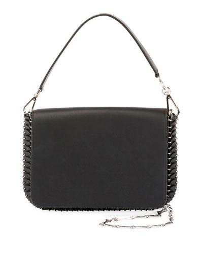 Iconic Shoulder Bag w/Handle in Sleek Calf, Black