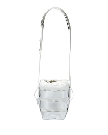 Cage Mini Mirrored Hobo Bag, Silver