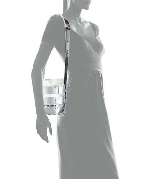 Cage Mini Mirrored Hobo Bag, Silver