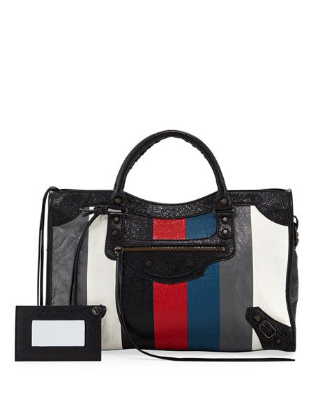 Balenciaga Classic City AJ Striped Leather Satchel Bag