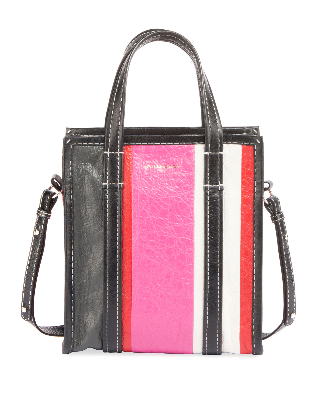 3b211210559 Balenciaga Bazar Shopper Extra Small Striped Leather Tote Bag ...