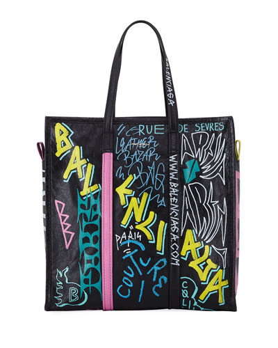 Bazar Medium Graffiti-Print Leather Shopper Tote Bag