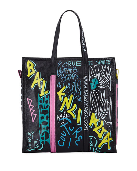 Balenciaga Bazar Medium Graffiti-Print Leather Shopper Tote Bag