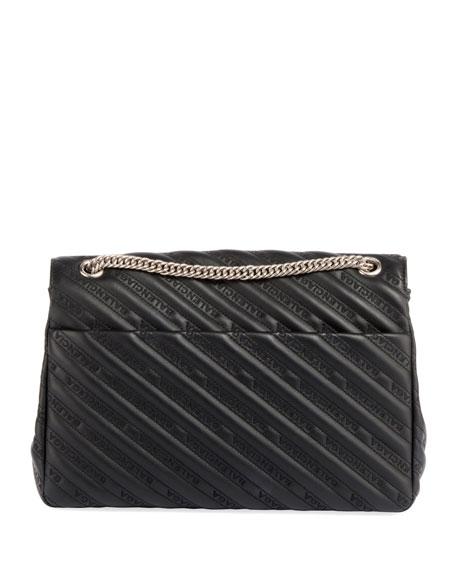Lock Round Large Leather Shoulder Bag