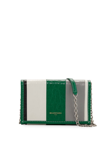 Bazar Striped Leather Chain Shoulder Bag by Balenciaga