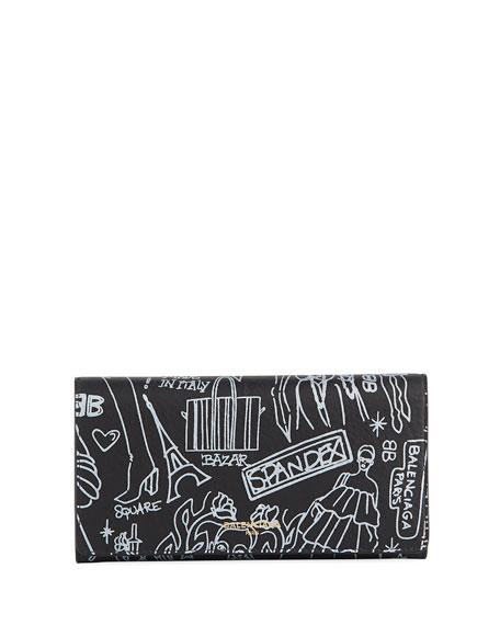 Balenciaga Essential Money Tattoo Leather Wallet