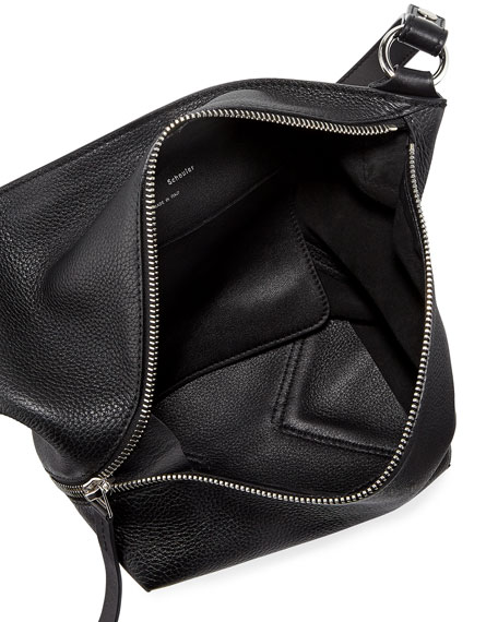 Small Grain Leather Zip Hobo Bag