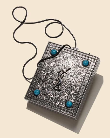 Tuxedo Box Minaudiere with Turquoise-Hued Studs