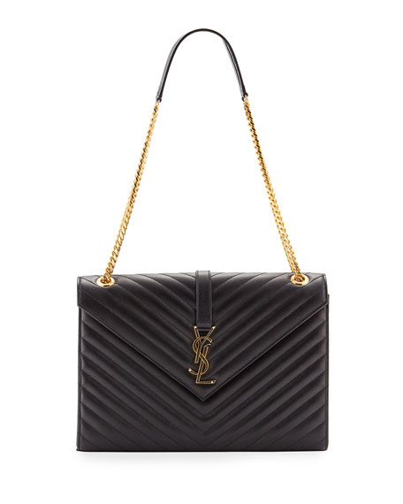 Saint Laurent V-Flap Large Envelope Chain Shoulder Bag