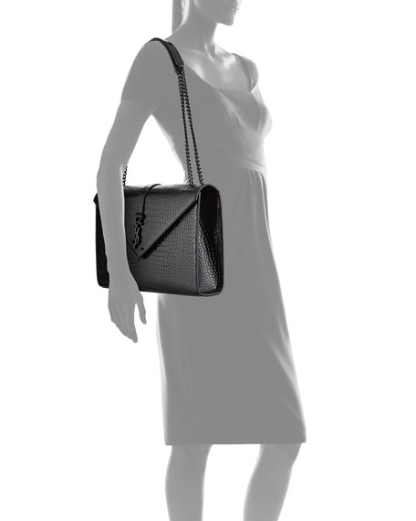 Large V Flap Shiny Crocodile Shoulder Bag