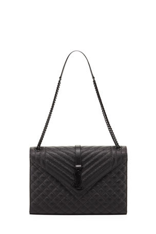 Saint Laurent Large Tri-Quilted Matelasse Grain de Poudre Flap Shoulder Bag, Black Hardware