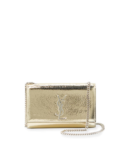 Kate Small Crackled Metallic Leather Crossbody Bag