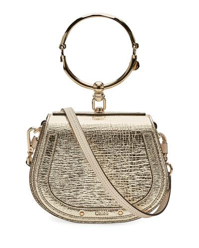 Nile Small Metallic Leather Bracelet Bag