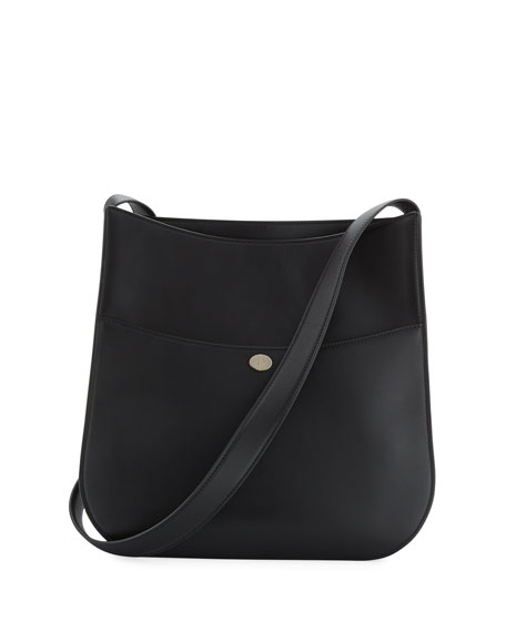 Loro Piana Fleur Large Leather Crossbody Bag, Black
