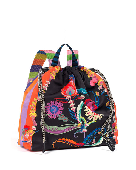 Multicolor Printed Drawstring Backpack by Etro