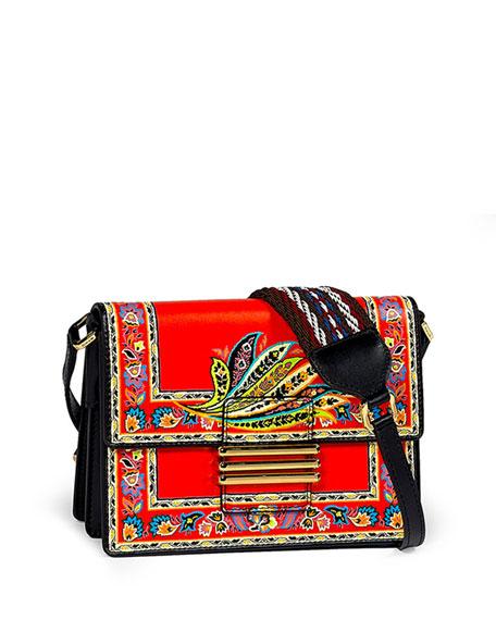 Etro Paisley-Print Leather Crossbody Bag, Red