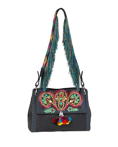 Multi-Embellished Leather Shoulder Bag, Black