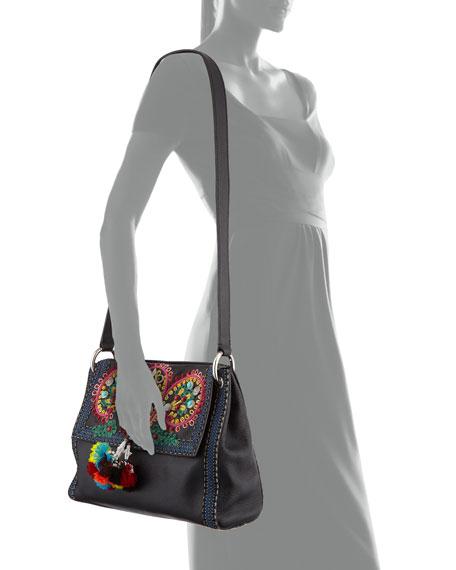 Multi-Embellished Leather Shoulder Bag