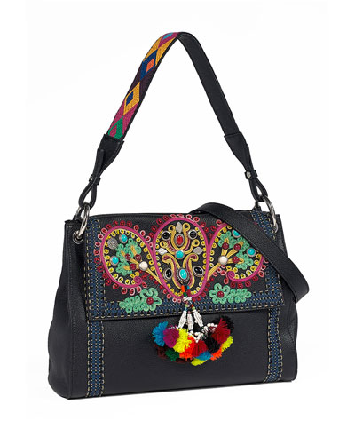 Multi-Embellished Leather Shoulder Bag