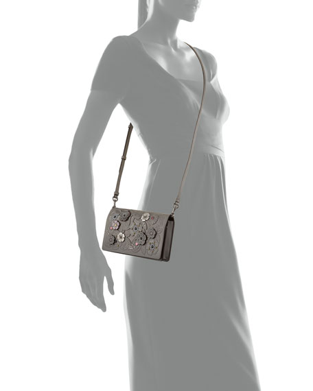 Tea Rose Metal Tooling Crossbody Bag, Gray Pattern