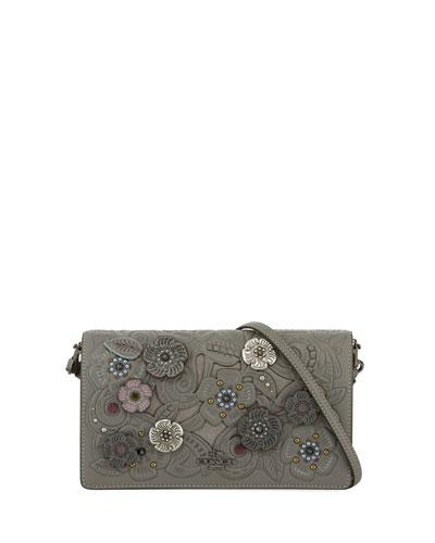Tea Rose Metal Tooling Crossbody Bag, Gray Pattern