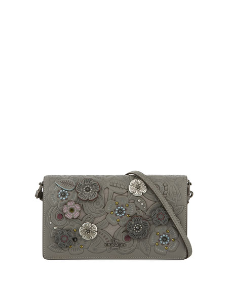 Coach Tea Rose Metal Tooling Crossbody Bag, Gray