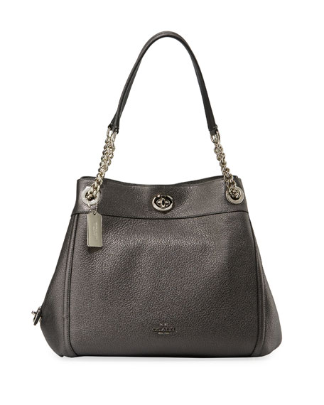 Coach Edie Metallic Leather Turn-Lock Shoulder Bag