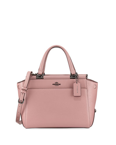 Drifter Mixed Leather Top-Handle Bag, Dark Pink