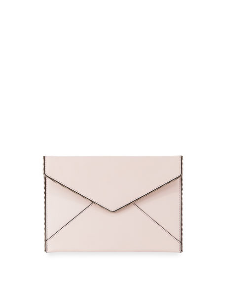 Rebecca Minkoff Leo Saffiano Leather Clutch Bag, Nude