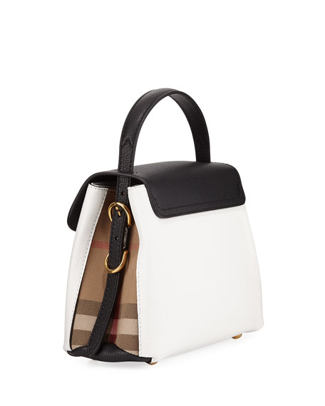 Camberley Derby Small Leather Tote Bag, White/Black