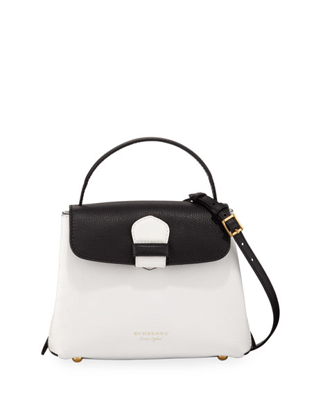 Camberley Derby Small Leather Tote Bag, White/Black by Burberry