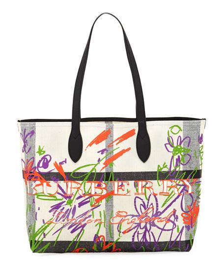 Medium Doodle Canvas Tote Bag
