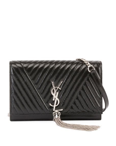 Saint Laurent Kate Monogram Shiny Quilted Wallet on