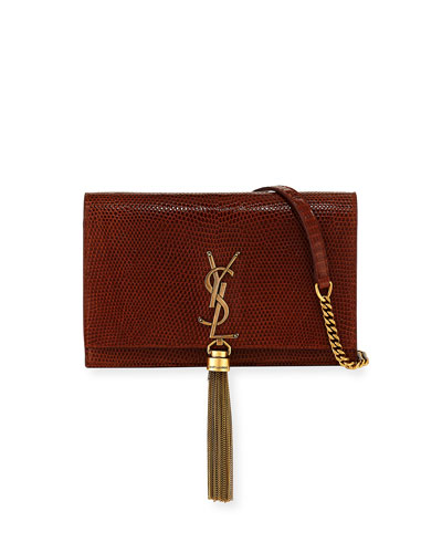 Kate Monogram Lizard Tassel Wallet on a Chain