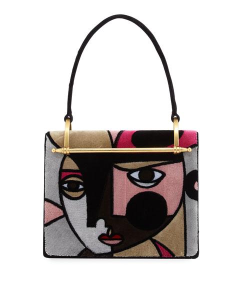 Prada Cubist Velvet Shoulder Bag