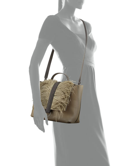 Lady Calf Top Handle Bag with Feathers