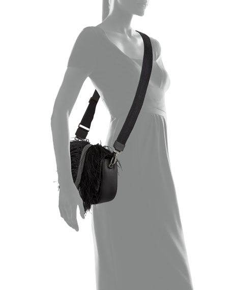 Rounded Thick-Strap Feather-Trimmed Crossbody Bag