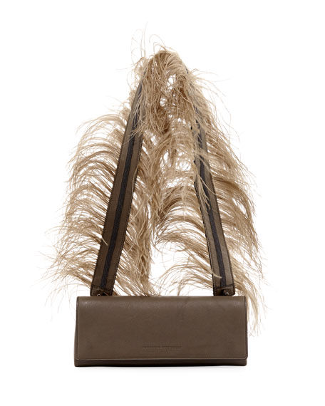 Brunello Cucinelli Feather-Strap Chest Crossbody Bag