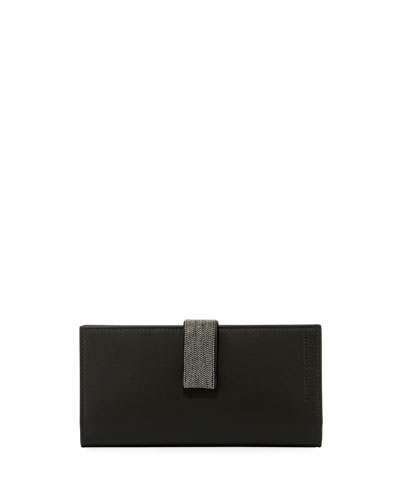Leather Wallet with Monili Strap