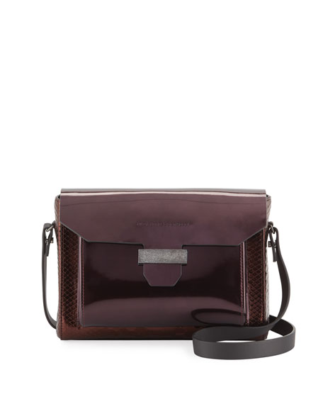 Brunello Cucinelli Glossy Python and Mirrored Leather Crossbody