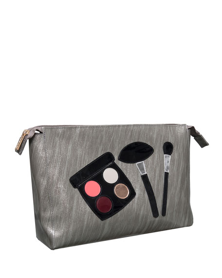 Betty Cosmetics Bag, Brushed Silver Makeup