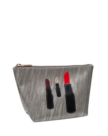 Lolo Bags Medium Avery Cosmetics Bag, Brushed Silver