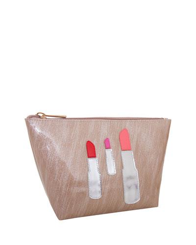 Medium Avery Cosmetics Bag, Brushed Rose Gold Lipstick