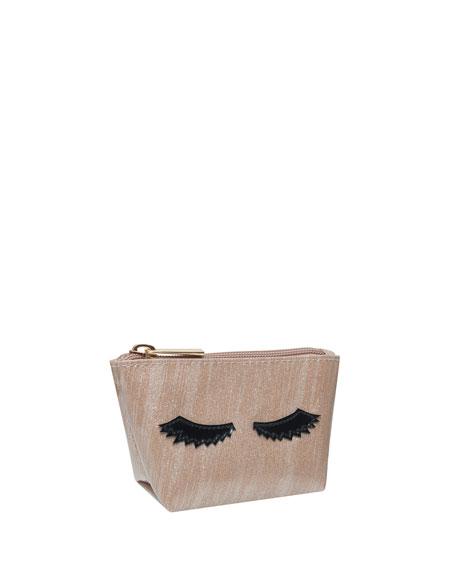 Mini Avery Cosmetics Bag, Brushed Rose Gold Eyelashes